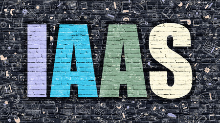 saas: IAAS - Infrastructure as a Service - Concept. Modern Line Style Illustration. Multicolor IAAS Drawn on Dark Brick Wall. Doodle Icons. Doodle Design Style of IAAS Concept. IAAS on Dark Brick Wall.