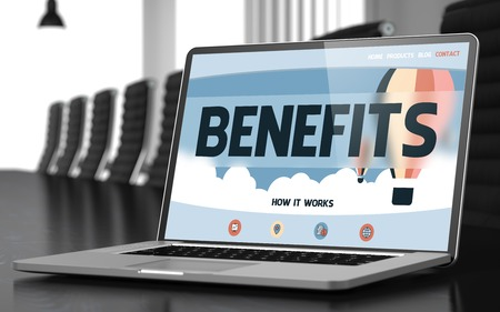 compensate: Benefits on Landing Page of Laptop Screen in Modern Conference Room Closeup View. Toned Image with Selective Focus. 3D Illustration.