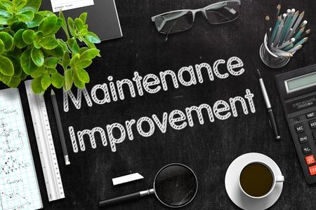 qualitatively: Maintenance Improvement on Black Chalkboard. 3d Rendering. Toned Illustration.