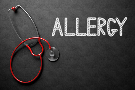 antihistamine: Medical Concept: Allergy - Text on Black Chalkboard with Red Stethoscope. Medical Concept: Allergy Handwritten on Black Chalkboard. 3D Rendering. Stock Photo