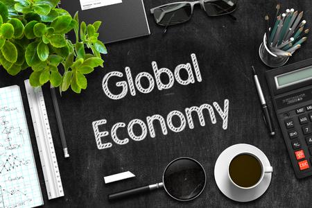 relaciones laborales: Economía Global - pizarra Negro con dibujados a mano texto y efectos de escritorio. Vista superior. Representación 3d. Foto de archivo