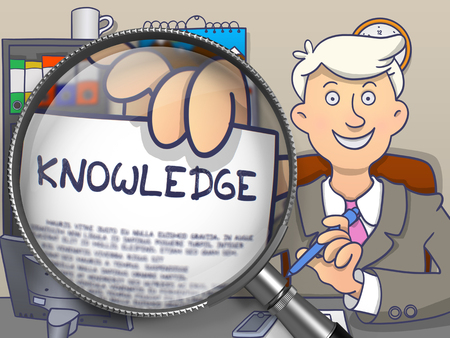 cognizance: Knowledge on Paper in Business Mans Hand to Illustrate a Business Concept. Closeup View through Magnifying Glass. Multicolor Doodle Style Illustration.