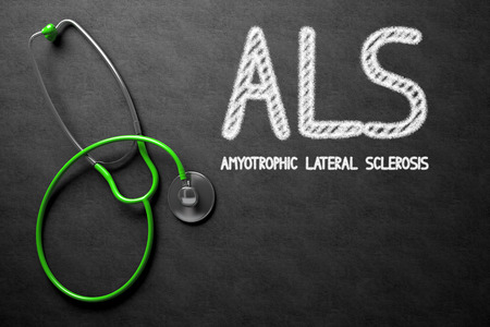 atrophy: Black Chalkboard with ALS - Amyotrophic Lateral Sclerosis - Medical Concept. Medical Concept: ALS - Amyotrophic Lateral Sclerosis on Black Chalkboard. 3D Rendering.