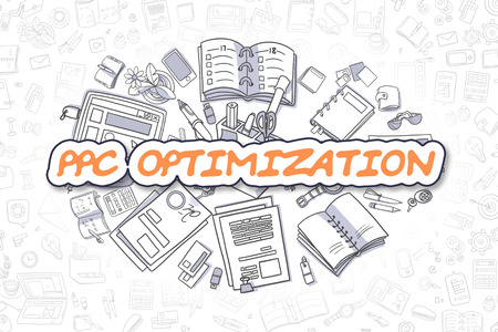 ppc: Cartoon Illustration of PPC Optimization, Surrounded by Stationery. Business Concept for Web Banners, Printed Materials.