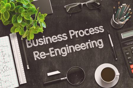 business process reengineering: Business Process Re-Engineering Handwritten on Black Chalkboard. 3d Rendering. Toned Image. Stock Photo