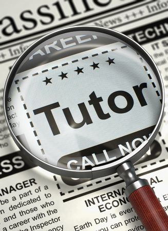tutor: Column in the Newspaper with the Small Ads of Job Search of Tutor. Tutor. Newspaper with the Job Vacancy. Job Seeking Concept. Selective focus. 3D Illustration.