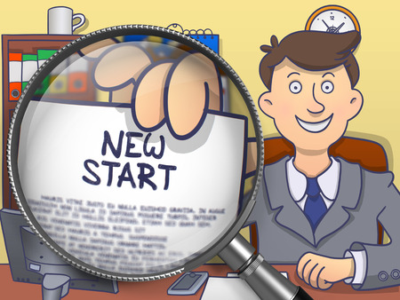 new start: New Start. Man in Office Workplace Shows through Magnifier Concept on Paper. Colored Doodle Style Illustration.