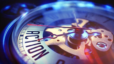 activism: Pocket Watch Face with Action Text on it. Business Concept with Vintage Effect. Action. on Vintage Pocket Watch Face with Close Up View of Watch Mechanism. Time Concept. Film Effect. 3D.