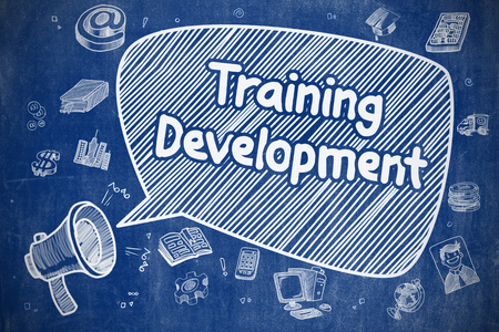 apprenticeships: Speech Bubble with Inscription Training Development Cartoon. Illustration on Blue Chalkboard. Advertising Concept.
