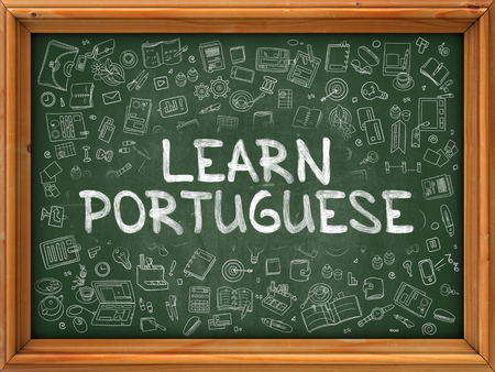 polyglot: Hand Drawn Learn Portuguese on Green Chalkboard. Hand Drawn Doodle Icons Around Chalkboard. Modern Illustration with Line Style.