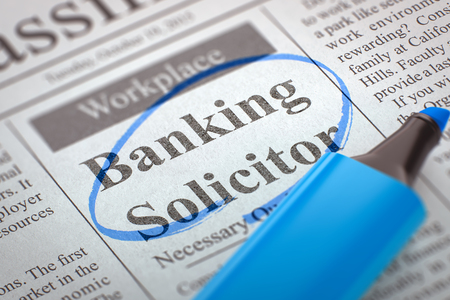 solicitor: Banking Solicitor. Newspaper with the Advertisements and Classifieds Ads for Vacancy, Circled with a Blue Highlighter. Blurred Image. Selective focus. Hiring Concept. 3D Rendering. Stock Photo