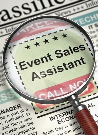 sales assistant: Magnifying Glass Over Newspaper with Vacancy of Event Sales Assistant. Event Sales Assistant - Searching Job in Newspaper. Job Seeking Concept. Blurred Image with Selective focus. 3D Illustration.