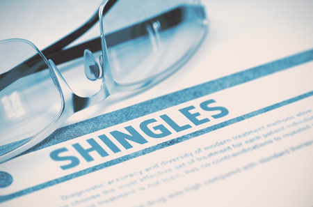 sores: Shingles - Medicine Concept on Blue Background with Blurred Text and Composition of Glasses. Shingles - Medical Concept with Blurred Text and Specs on Blue Background. Selective Focus. 3D Rendering.