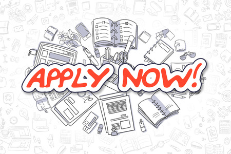 limited access: Apply Now - Hand Drawn Business Illustration with Business Doodles. Red Text - Apply Now - Cartoon Business Concept.