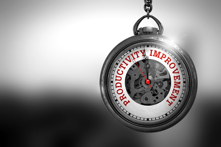 increment: Business Concept: Productivity Improvement on Pocket Watch Face with Close View of Watch Mechanism. Vintage Effect. Watch with Productivity Improvement Text on the Face. 3D Rendering.