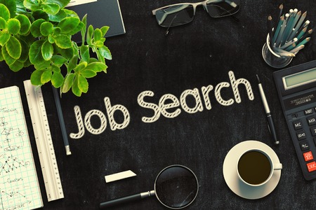 hiring practices: Job Search Concept on Black Chalkboard. 3d Rendering. Toned Image.