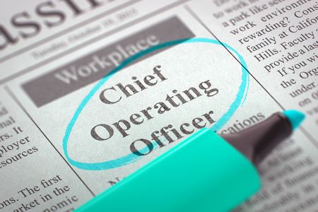 coo: Chief Operating Officer. Newspaper with the Vacancy, Circled with a Azure Highlighter. Blurred Image. Selective focus. Concept of Recruitment. 3D Illustration.