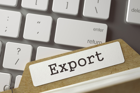 exportation: Folder Index with Export Overlies White Modern Keypad. Business Concept. Closeup View. Toned Blurred  Illustration. 3D Rendering.