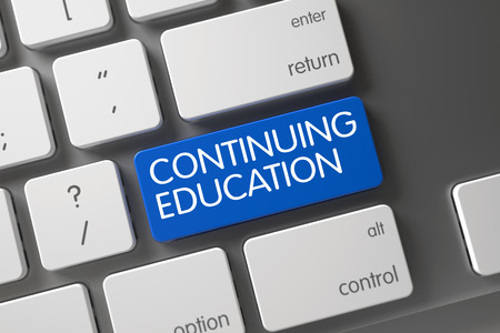 continuing education: Continuing Education Concept: White Keyboard with Continuing Education, Selected Focus on Blue Enter Button. 3D.