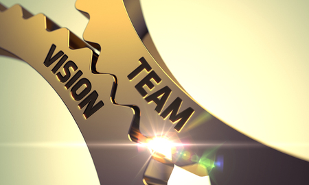 Team Vision on the Mechanism of Golden Metallic Gears with Glow Effect. 3D Render. Stock Photo