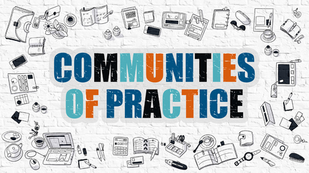 rationale: Communities of Practice Concept. Modern Line Style Illustration. Multicolor Communities of Practice Drawn on White Brick Wall. Doodle Icons. Doodle Design Style of Communities of Practice Concept. Stock Photo