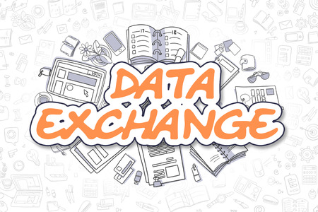 Data Exchange Doodle Illustration of Orange Word and Stationery Surrounded by Doodle Icons. Business Concept for Web Banners and Printed Materials. Stock Photo