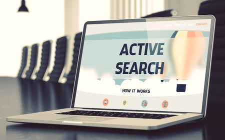 parameters: Active Search Concept. Closeup Landing Page on Laptop Display on Background of Conference Hall in Modern Office. Toned. Blurred Image. 3D Render. Stock Photo