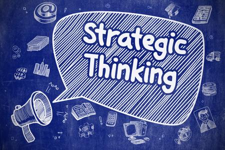 pensamiento estrategico: Screaming Bullhorn with Text Strategic Thinking on Speech Bubble. Hand Drawn Illustration. Business Concept. Foto de archivo