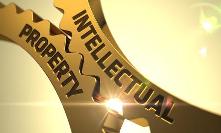 Intellectual Property on Mechanism of Golden Metallic Cog Gears with Lens Flare. 3D. Stock fotó
