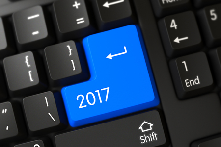 christmas budget: 2017 Written on a Large Blue Button of a Computer Keyboard. 3D Illustration.