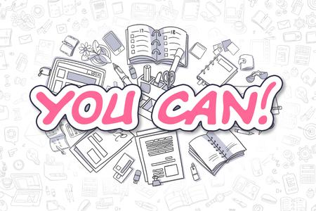 tu puedes: Usted puede ilustración de bosquejo de Magenta inscripción y efectos de escritorio, rodeado de iconos de dibujos animados. Concepto de negocio de Web pancartas y materiales impresos. Foto de archivo