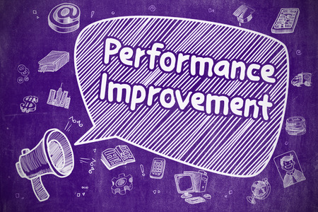 performance improvement: Speech Bubble with Phrase Performance Improvement Hand Drawn. Illustration on Purple Chalkboard. Advertising Concept. Stock Photo