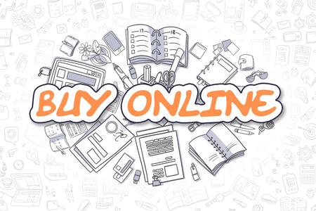 buy online: Buy Online - Hand Drawn Business Illustration with Business Doodles. Orange Inscription - Buy Online - Doodle Business Concept.