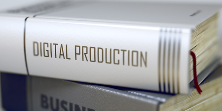 computerization: Book in the Pile with the Title on the Spine Digital Production. Digital Production - Book Title. Book Title of Digital Production. Toned Image. Selective focus. 3D Illustration.