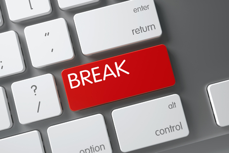 interruption: Break Concept Modern Keyboard with Break on Red Enter Key Background, Selected Focus. 3D Illustration. Stock Photo