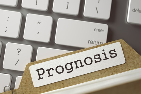 prognostication: Prognosis. Folder Index Overlies Modern Metallic Keyboard. Business Concept. Closeup View. Blurred Toned Image. 3D Rendering.