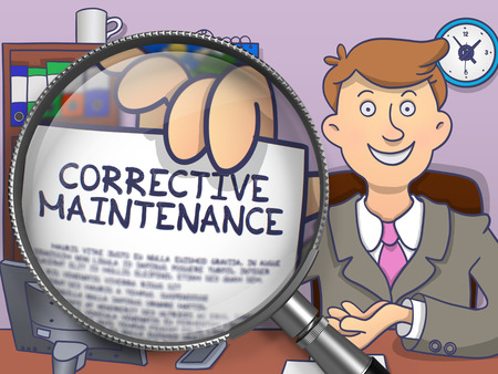 qualitatively: Corrective Maintenance. Concept on Paper in Mans Hand through Lens. Colored Doodle Style Illustration.