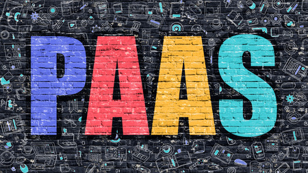 PAAS - Platform Service. Multicolor Inscription on Dark Brick Wall with Doodle Icons Around. PAAS Concept. Modern Style Illustration with Doodle Design Icons. PAAS on Dark Brickwall Background.