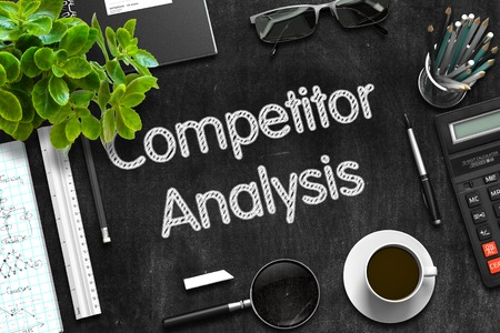 competitor: Competitor Analysis Concept on Black Chalkboard. 3d Rendering.