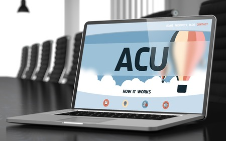concurrent: ACU - Average Concurrent User - on Landing Page of Laptop Screen in Modern Meeting Hall Closeup View. Blurred Image. Selective focus. 3D. Stock Photo