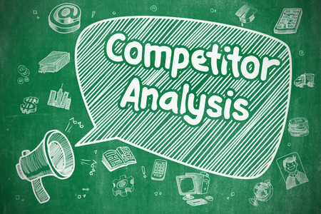 competitor: Business Concept. Horn Speaker with Text Competitor Analysis. Doodle Illustration on Green Chalkboard. Stock Photo