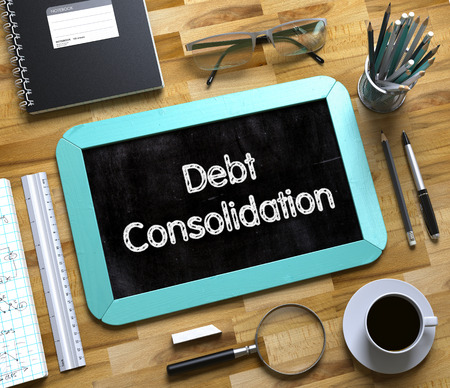 Debt Consolidation - Text on Small Chalkboard.Top View of Office Desk with Stationery and Mint Small Chalkboard with Business Concept - Debt Consolidation. 3d Rendering.