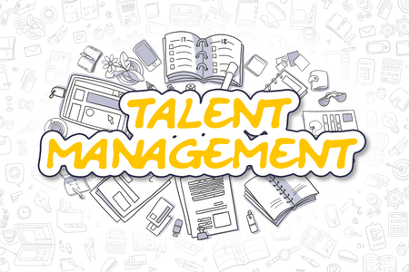 talent management: Yellow Inscription - Talent Management. Business Concept with Doodle Icons. Talent Management - Hand Drawn Illustration for Web Banners and Printed Materials.