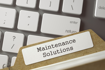 qualitatively: Maintenance Solutions written on  Card Index on Background of Computer Keyboard. Archive Concept. Closeup View. Toned Blurred  Illustration. 3D Rendering.