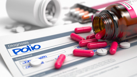 contagious: Polio Text in Disease Extract. CloseUp View of Medicine Concept. Polio - Handwritten Diagnosis in the Anamnesis. Medicine Concept with Heap of Pills, Close View, Selective Focus. 3D Illustration. Stock Photo