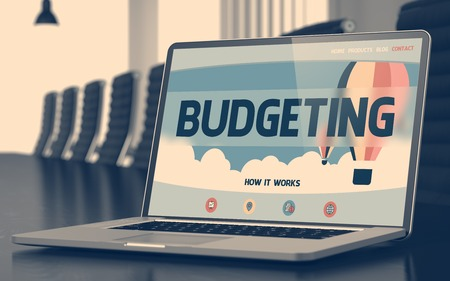 Laptop Display with Budgeting Concept on Landing Page. Closeup View. Modern Conference Room Background. Blurred Image. Selective focus. 3D.