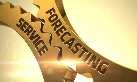stock predictions: Forecasting Service on the Mechanism of Golden Cogwheels. 3D. Stock Photo
