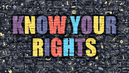 know: Multicolor Concept - Know Your Rights on Dark Brick Wall with Doodle Icons. Modern Illustration in Doodle Style. Know Your Rights Business Concept. Know Your Rights on Dark Wall.