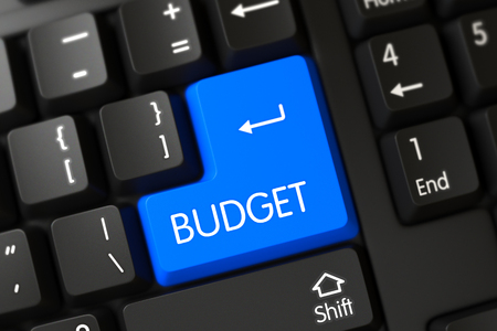 current account: Concepts of Budget on Blue Enter Button on Modernized Keyboard. 3D Render. Stock Photo
