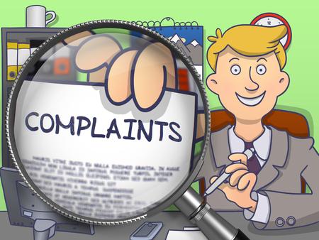 dissatisfaction: Complaints through Lens. Officeman Showing a Paper with Concept. Closeup View. Multicolor Doodle Illustration. Stock Photo